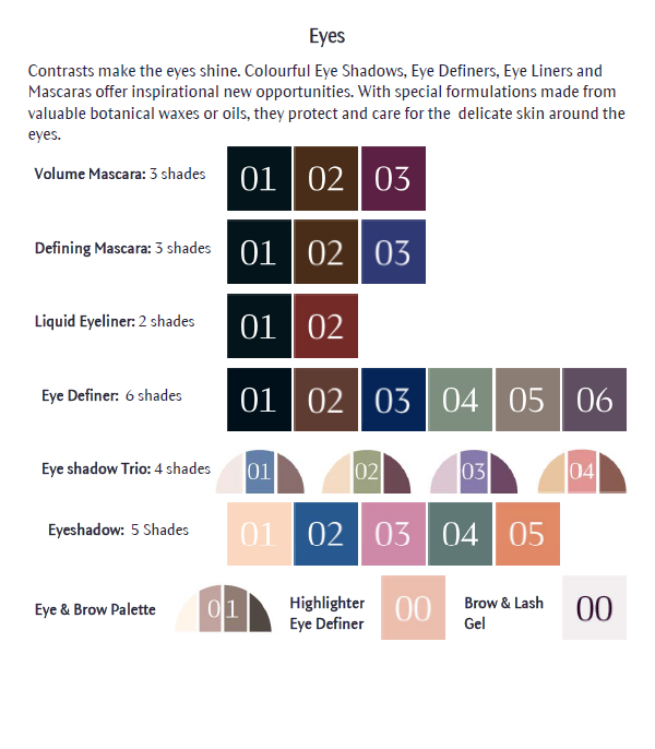 Dr Hauschka Makeup Colour Chart Eyes