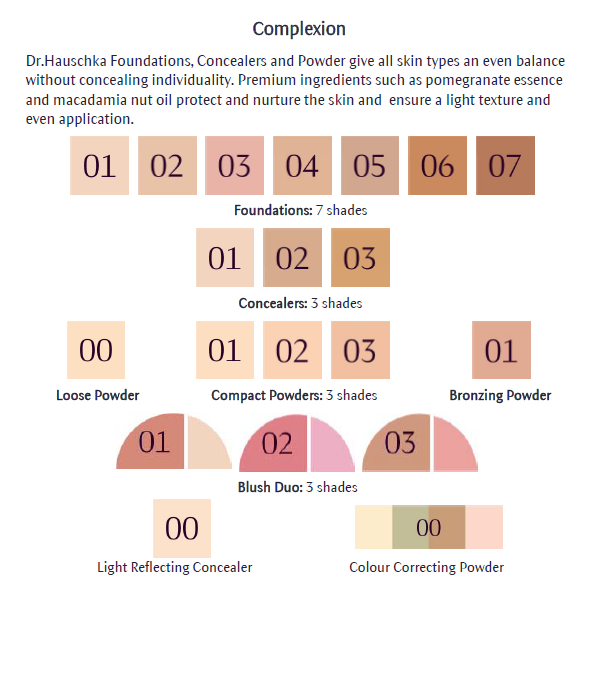 Dr Hauschka Makeup Colour Chart Face