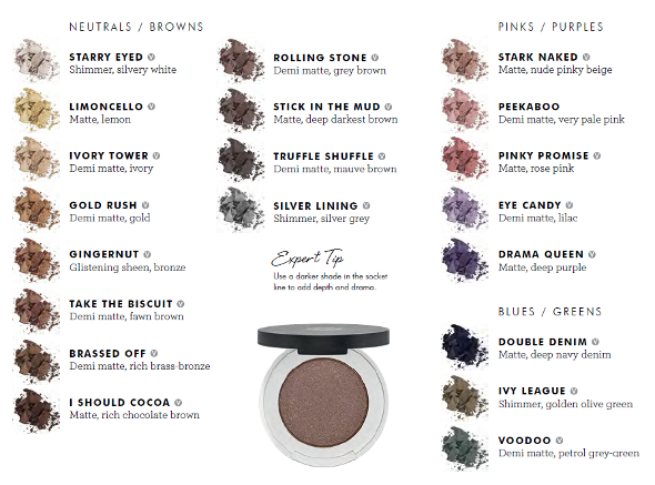 pressed eye shadow colour chart