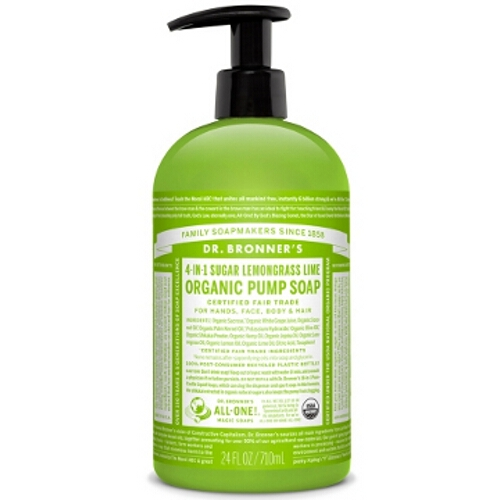 Dr Bronner Organic Pump Body Soap - Lemongrass Lime