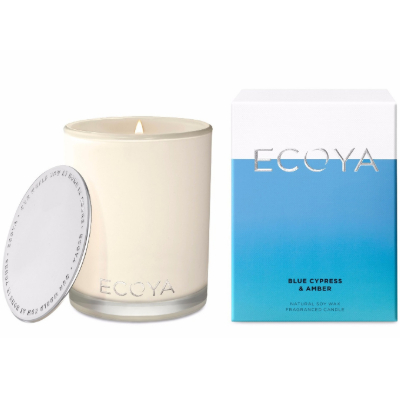 Ecoya Madison Jar Soy Candle - Blue Cypress Amber