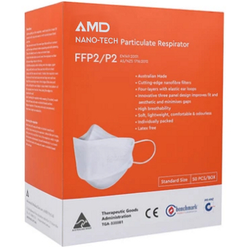 AMD Australian made P2 CERTIFIED Respirator Face Mask 4 Layer 50 box