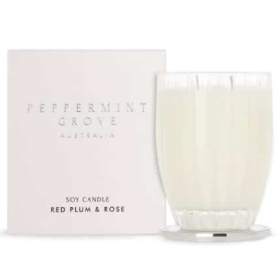 Peppermint Grove Large Soy Candle - Red Plum & Rose